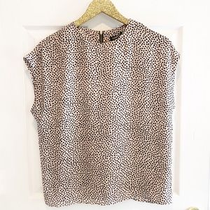 Express Spotted Print Cap Sleeve Blouse